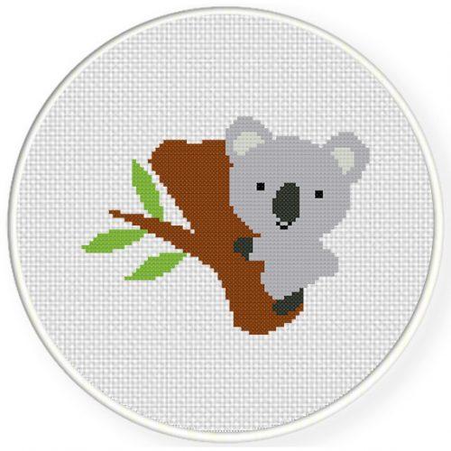 Cute koala cross stitch pattern daily