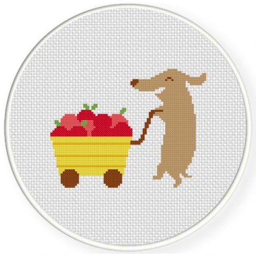 Fruit Cart Cross Stitch Illustration