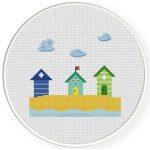 Fun Beach Houses Cross Stitch Illustration