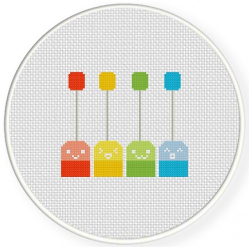 Happy Teabags Cross Stitch Illustration