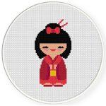 Japanese Doll Cross Stitch Illustration