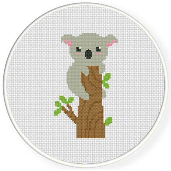 Charts club members only koala on a tree cross stitch