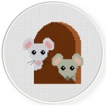 Mouse In Hole Cross Stitch Illustration