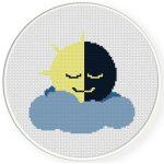 Mr Sun And Moon Cross Stitch Illustration