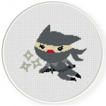 Ninja Cat Cross Stitch Illustration