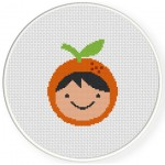 Orange Fruit Boy Cross Stitch Illustration