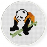 Panda with bamboo Cross Stitch Illustration