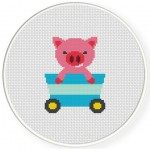 Pig Cart Cross Stitch Illustration