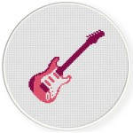 Pink Electric Guitar Cross Stitch Illustration
