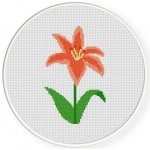 Pink Lily Cross Stitch Illustration