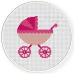 Pink Stroller Cross Stitch Illustration