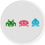 Pixelated Aliens Cross Stitch Illustration