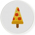 Pizza Popsicle Cross Stitch Illustration