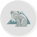 Polar Bears and Mountains Cross Stitch Illustration