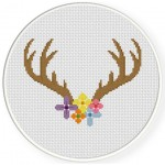 Pretty Floral Antler Cross Stitch Illustration