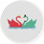 Pretty Swans Cross Stitch Illustration