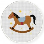 Rocking Horse With Stars Cross Stitch Illustration