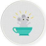 Teacup Surprise Cross Stitch Illustration