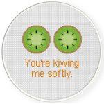You_re Kiwing Me Softly Cross Stitch Illustration