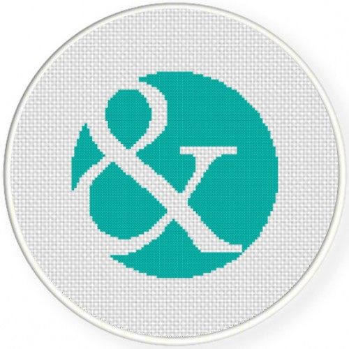 Ampersand Circle Cross Stitch Illustration