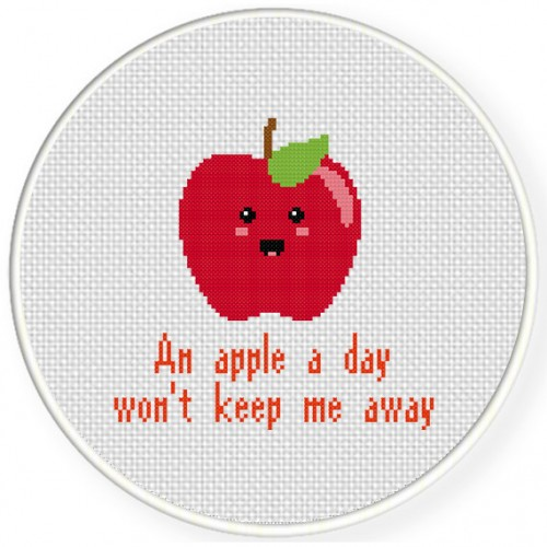 An Apple A Day Wont Keep Me Away Cross Stitch Illustration