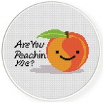 Are You Peachin Me Cross Stitch Illustration
