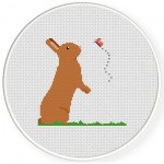 Bunny And Butterfly Cross Stitch Illustration