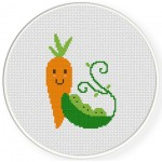 Carrot And Peas Cross Stitch Illustration
