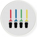 Colorful Brushes Cross Stitch Illustration