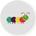 Colorful Caterpillar Cross Stitch Illustration