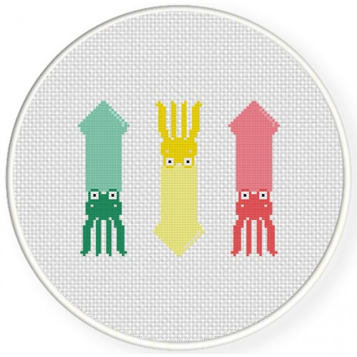 Colorful Squids Cross Stitch Illustration