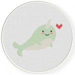 Cute Narwhal With Heart Cross Stitch Illustration
