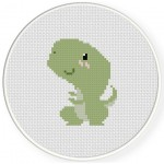Cute T-Rex Cross Stitch Illustration