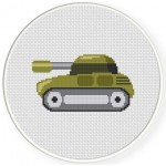 Cute Tank Cross Stitch Illustration