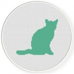Green Cat Cross Stitch Illustration