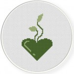 Green Is Heart Cross Stitch Illustration
