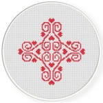 Heart Damask Cross Stitch Illustration