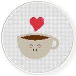 Kawaii Coffee Cross Stitch Illustration
