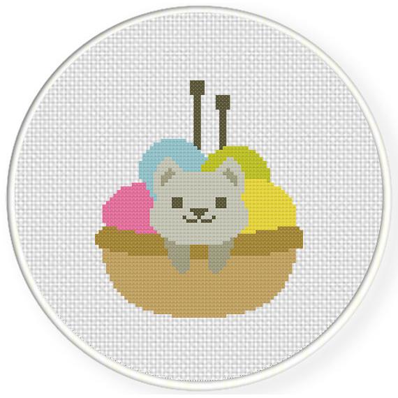 Knitting Cross Stitch Pattern : Kitty In Knitting Basket Cross Stitch Pattern Daily Cross Stitch