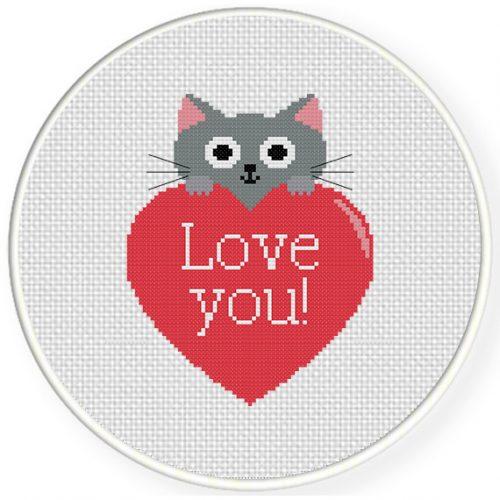 Kitty Love Cross Stitch Illustration
