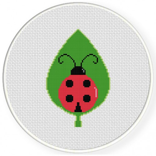 Ladybug In A Leaf Cross Stitch Illustration