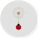 Ladybug In Dandelion Cross Stitch Illustration