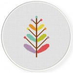 Rainbow Foliage Cross Stitch Illustration