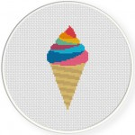 Rainbow Ice Cream Cross Stitch Illustration