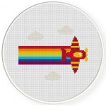Rainbow Plane Cross Stitch Illustration