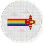 Rainbow Plane Cross Stitch Illustration
