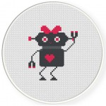 Robogirl Cross Stitch Illustration