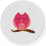 Sleeping Owl Cross Stitch Illustration