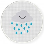 Smiling Rain Cloud Cross Stitch Illustration