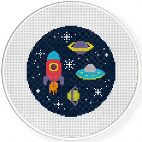Space adventure cross stitch pattern daily cross stitch for Space embroidery patterns